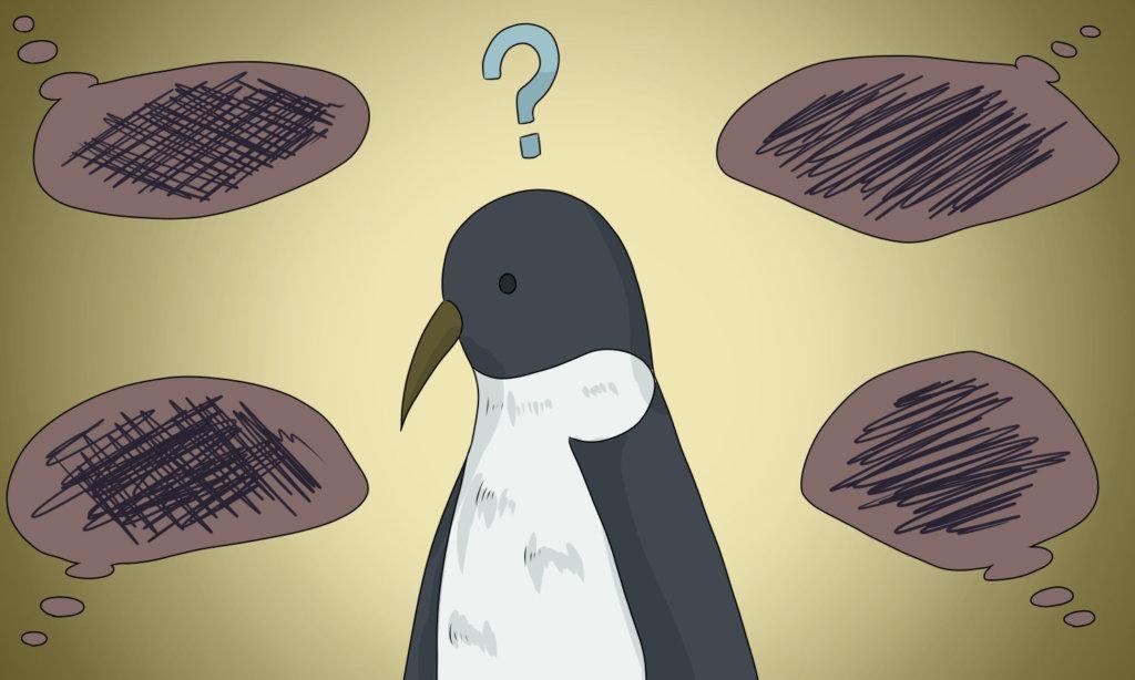 不思議そうな顔をするペンギン