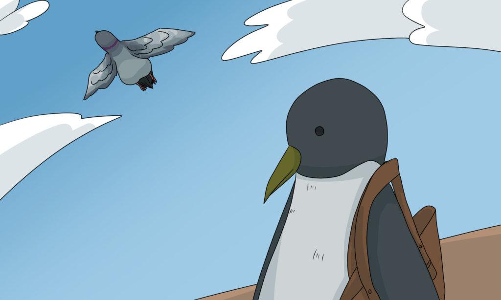 飛ぶ鳥とペンギン